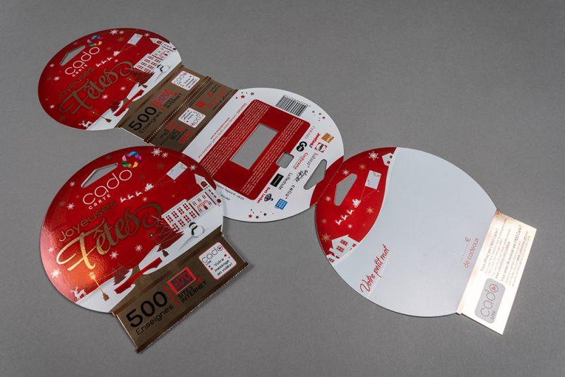 Porte carte cadeau (insertion de produit à plat), impression sur pelliculage argent