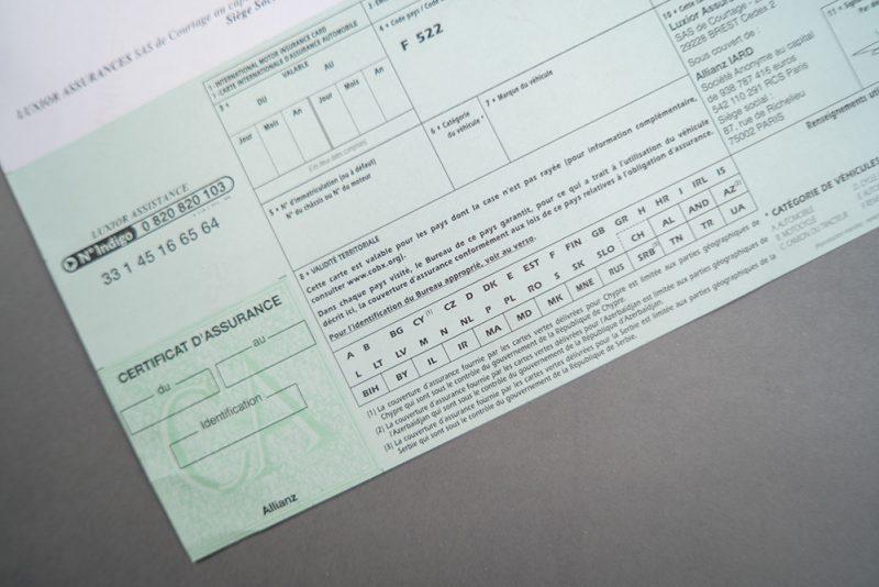 Imprimé administratif carte verte assurance automobile